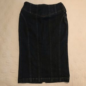 Bebe dark blue wash pencil skirt